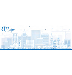 Outline el paso skyline with blue buildings vector