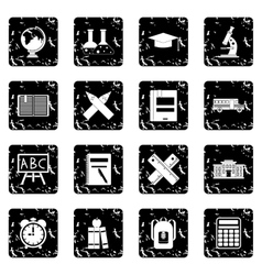 School set icons grunge style vector image vector image
