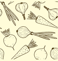 Seamless pattern of vegetables contour vegan food vector