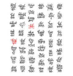 set of 50 hand lettering inscription about happy vector image vector image