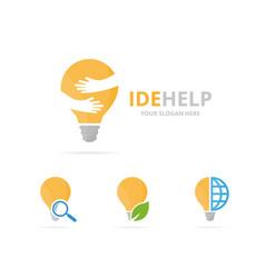 Set of lamp logo combination lightbulb and vector