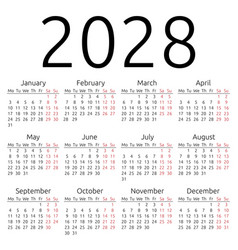 Simple calendar 2028 monday vector