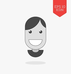 Smiling happy face icon flat design gray color vector