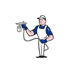 Spray painter spraying gun cartoon vector