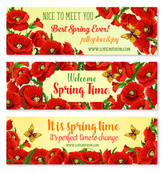 Spring flower frame for springtime banner template vector