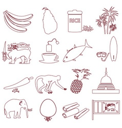 Sri-lanka country symbols outline icons set eps10 vector