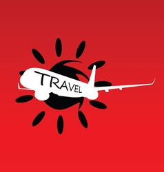 sun with travel airplane vector image