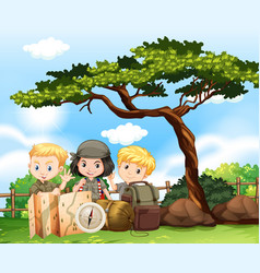 Three kids camping out in the park vector