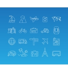 Travel mono line icon set vector image vector image