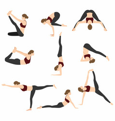 Yoga poses set design vector