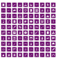 100 weapons icons set grunge purple vector