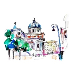 Original freehand watercolor travel card from rome vector