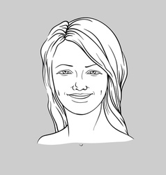 Happy face of a young woman vector