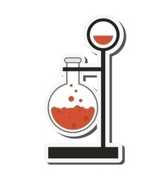 Round bottom flask and lab support icon vector