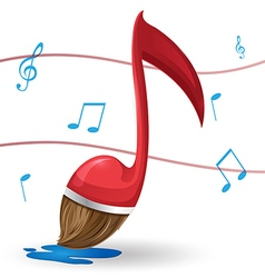 Red note music brush paint vector