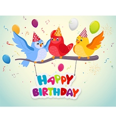 Birthday celebration with cute birds vector