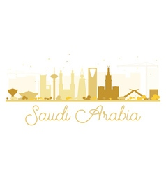 Saudi arabia golden skyline silhouette vector