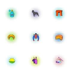 France republic icons set pop-art style vector