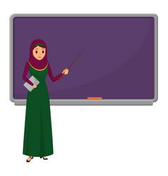 Muslim woman teacher standing in front of vector