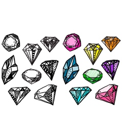 Diamonds set of doodle crystals vector