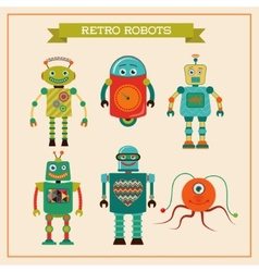 Set of cute retro vintage robots vector
