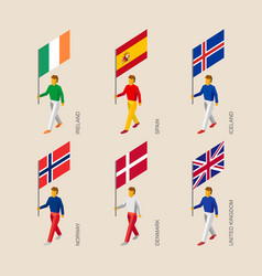 3d people with flags of europe vector
