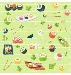 Sushi pattern vector