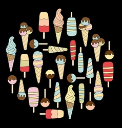 Ice cream on black vector