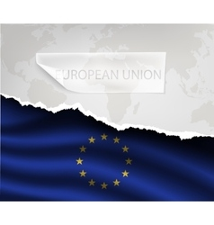 Paper with hole and shadows european union flag vector