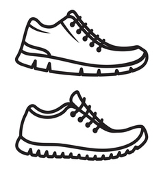 Running shoes icons line vector