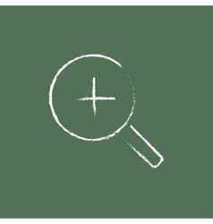 Zoom in icon drawn chalk vector