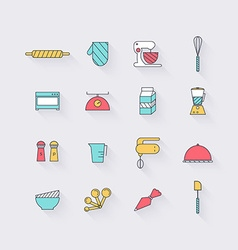 Line icons set in flat design Elements of Cooking vector image