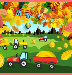 autumn landscape tractors on field harvest time vector image vector image