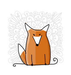 cute red fox sketch for your design vector image vector image