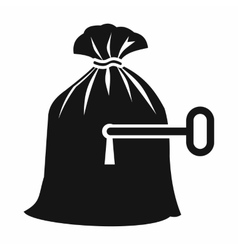 Full sack with a keyhole icon simple style vector