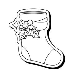 Happy merry christmas sock card vector