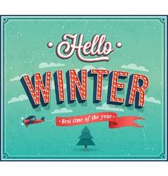 Hello winter typographic design vector image