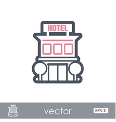 Hotel outline icon summer vacation vector