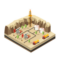 Isometric oil industry template vector