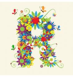 letter R floral design vector image vector image