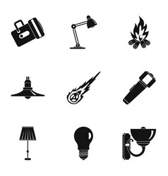 light symbols icon set simple style vector image vector image