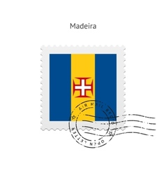 Madeira flag postage stamp vector