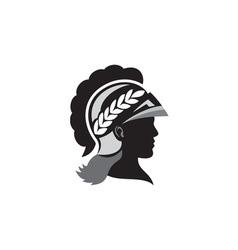 Minerva head side silhouette retro vector