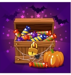 Open antique treasure chest with candy on vector image vector image