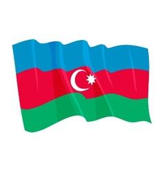 political waving flag of azerbaijan vector image vector image