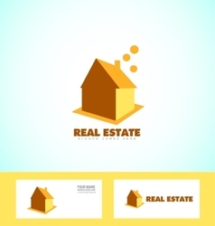 Real estate house orange logo icon vector