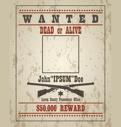 Retro wanted poster template vector