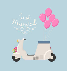 Retro wedding scooter vector