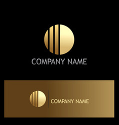 round line shape gold business logo vector image vector image