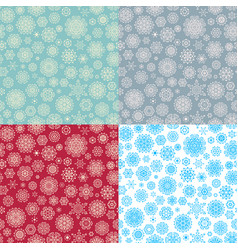 Set of 4 seamless snowflakes pattern eps 10 vector